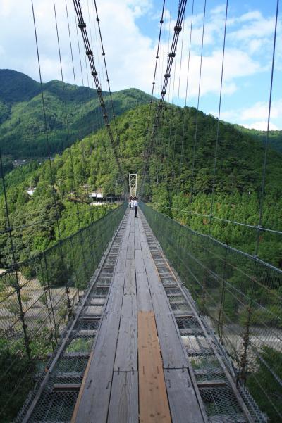 2010年9月 奈良県十津川村で日本一の谷瀬の吊橋を渡る