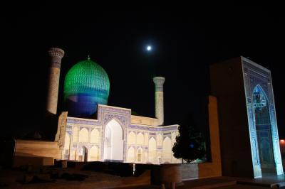 2010/09/17 -05. サマルカンド レギスタン広場のライトショー、グリ・アミール廟の夜景