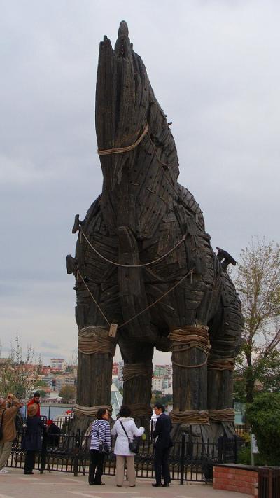 映画トロイの木馬セット見学。