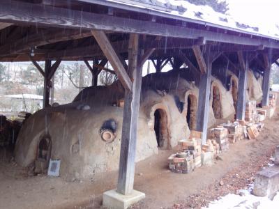 大雪の中.. 益子 の陶器と 水戸 のアンコウ