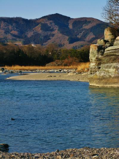 長瀞 天然記念物=岩 畳=寒風吹く日に ☆こたつ舟・カヌー漕いで