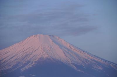 山中湖・パノラマ台から見た朝焼けの富士山
