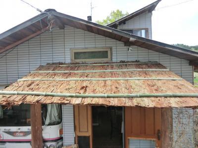 104京丹波町 秘密基地 葺き替え・外壁材から檜皮葺に変身