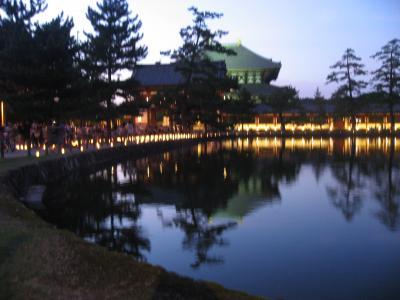 なら燈花会 灯人サポータ参加と東大寺大仏殿 東日本大震災被災者鎮魂復興祈願 2011年