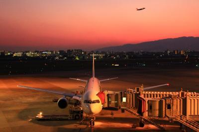 伊丹空港の夕日