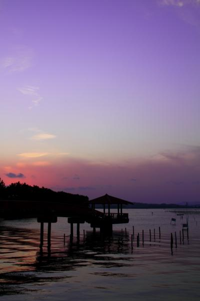 静岡 天竜川の日の出と浜名湖の夕景