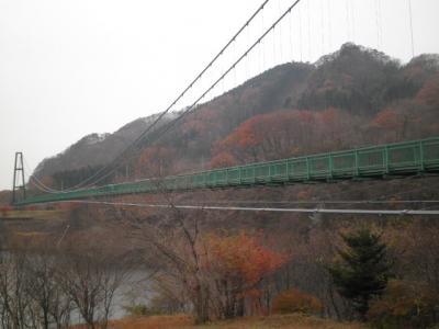 塩原箒川に架かる吊橋散策