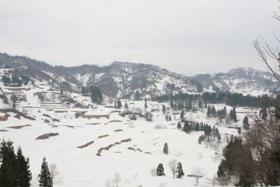 雪解けを待つ峠の棚田:十日町市松代