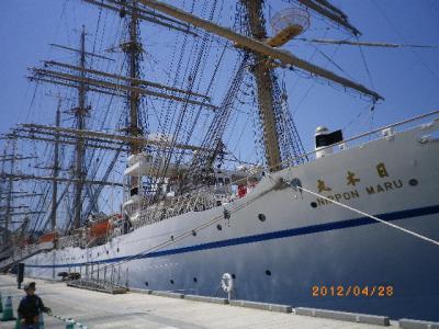 帆船とダイアモンドプリンセスの宴