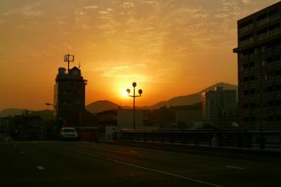 熊本の夕日と通潤橋