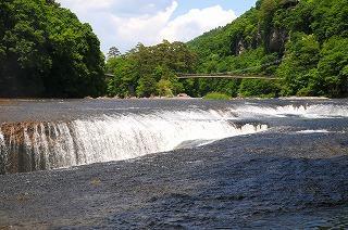 名瀑 吹割の滝、春風景