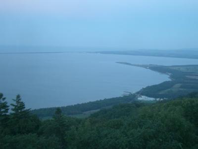 サロマ湖の夕日には間に合わなかった。でも雄大な景色に感動しました。