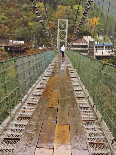 谷瀬のつり橋 日本最長の生活道路橋(鉄線製) ☆長さ297mをゆらり往復