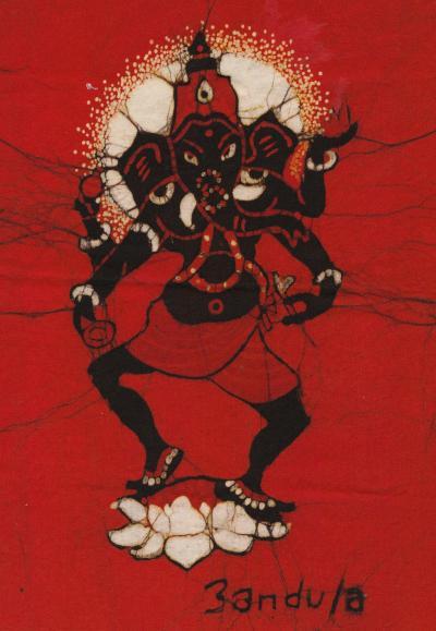 紅のガネーシャ by  BANDULA FERNANDO BATIKS.