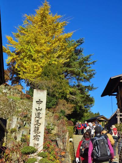 馬籠宿 石畳坂に藤村記念館・旅籠風情が ☆恵那山の雄姿を眺め