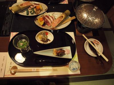 息子の卒業旅行で京都へ 嵐山温泉 花伝抄 夕食と朝食 2013年3月