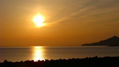 庭園紀行(57)・・・国譲り、国取の舞台・・・稲佐の浜の夕日と夕食。