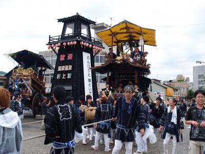 村上大祭宵祭り-駅前