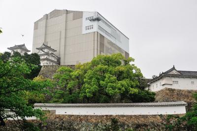 天空の白鷺(保存修理工事中の姫路城大天守見学)