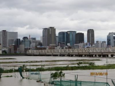 淀川河川敷公園の冠水