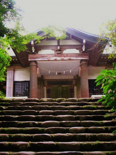 金時山Walk3/3 木の根道を下って;公時神社に参拝 ☆金時宿り石もあり