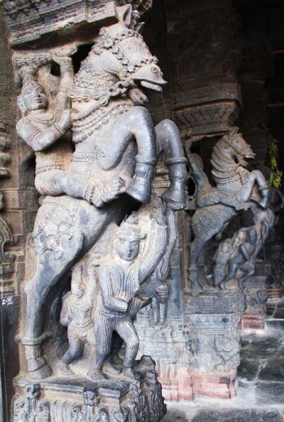 南インド・タミル紀行(2) 躍動する神々の石柱群 カーンチプラムのワラダラージャ寺院