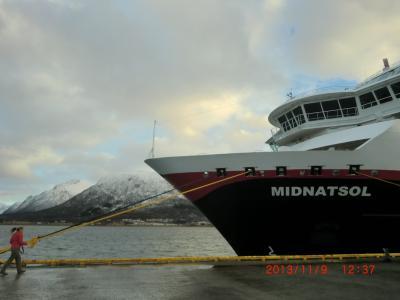 フッティールーテン 沿岸急行船ミッドナットソル号往復の旅 その2 北行き乗船記