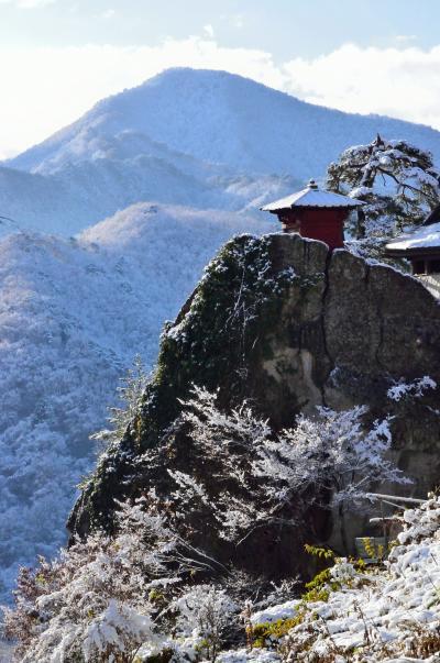 初冬の山形、温泉巡りと雪の山寺