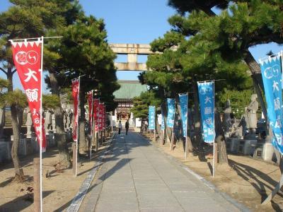 暮れの赤穂城跡と大石神社