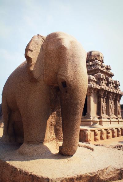 南インド・タミル紀行(7) ドラヴィダ建築の原型 マハバリプラムの5つの石彫り寺院ファイブ・ラタ