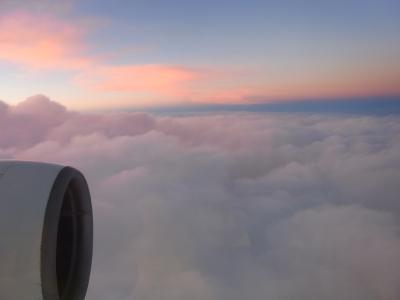 夕日に向かって進むフライトは羽田へと向かいます。