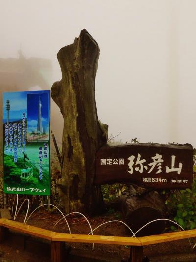 弥彦-3  弥彦山頂;霧の中 ロープウェイに搭乗 ☆昼食・自然館見学