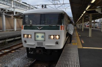 熱海始発の特急用車両の普通電車に乗車する