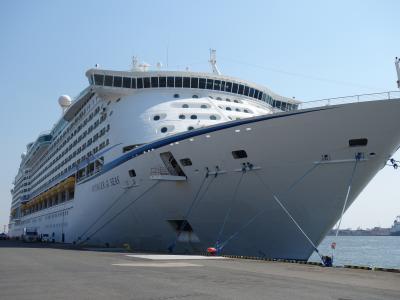 クルーズがなつかしくて,港まで客船を見に行く。