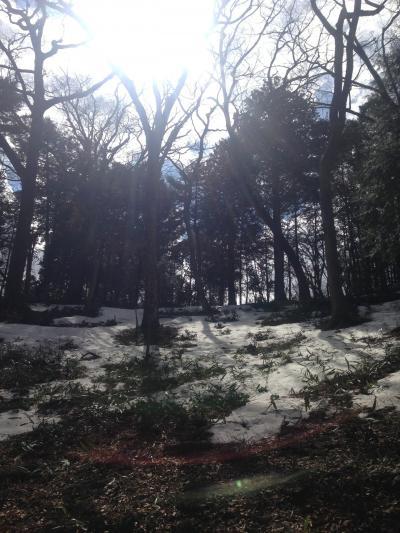 雪の残る高水三山、軍畑ルート