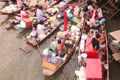 新婚旅行でタイ、バンコクへ★初めてのアジア!3日目バンコク市内寺院観光、水上マーケット、蛍ナイトクルージング/4日目ウィークエンドマーケット、スパ、ニューハーフショー