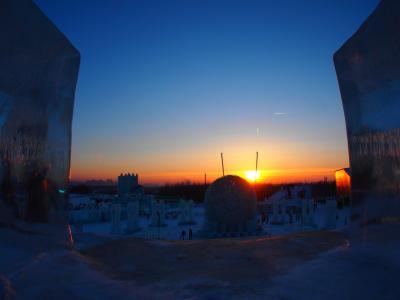 ハルビン旅その3 雪祭りからまたまたバンで移動、そして氷祭りの美しい夕暮れ!の巻