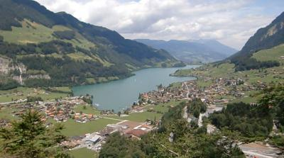 2011年7月スイス-7 ルンゲルン湖畔をサイクリング かわいい猫に遭遇