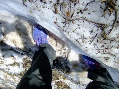 こどもの日の石鎚山登山は雪渓谷渡り