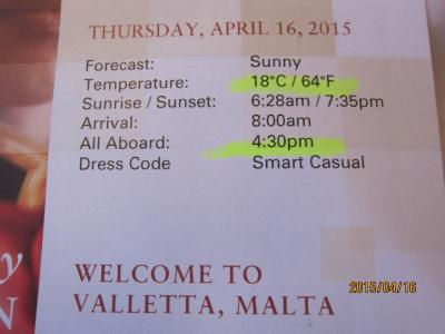 3:RomeからAmsterdamまでの22日+14日の船旅★Thu Apr 16 Valletta, Malta ★