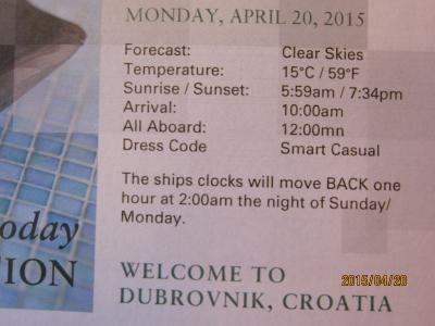 6:RomeからAmsterdamまでの22日+14日の船旅★ Mon Apr 20 Dubrovnik, Croatia ★