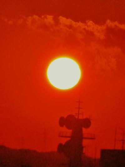 SホテルLohas JR奈良駅733号室の夕陽/2回 ☆日の入り遅く18:58に