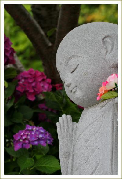 Solitary Journey [1608] 梅雨時を美しく彩る花'紫陽花'お地蔵さんも微笑んでいました♪<広島市唯一の花の寺'観音寺'>広島市佐伯区