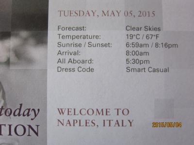 19:RomeからAmsterdamまでの22日+14日の船旅★Tue May 5 Naples (Capri), Italy★