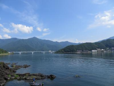 夏の河口湖と富士山