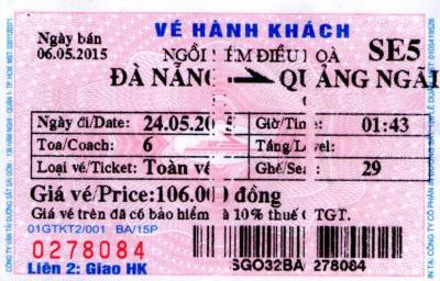 ベトナム統一鉄道の乗車券の予約及び購入、そして乗車についての経験