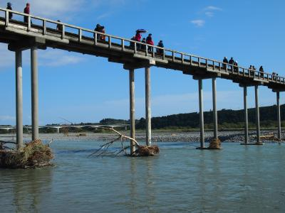 秋晴れの蓬莱橋☆バイクで巡る静岡の原風景