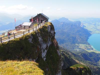 湖畔の町ザンクト・ヴォルフガングから登山鉄道で登るシャーフベルク