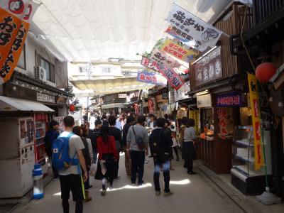 宮島では清盛通りのお散歩です。外国人の多いのに驚きます。人気観光地なのでしょう。