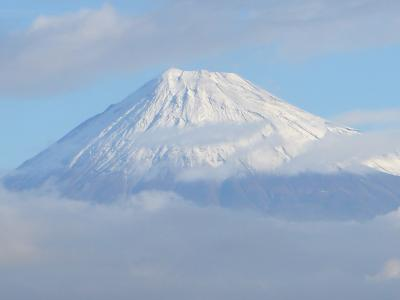 01.初冬の三島の散歩道 真っ白に雪化粧をした富士山
